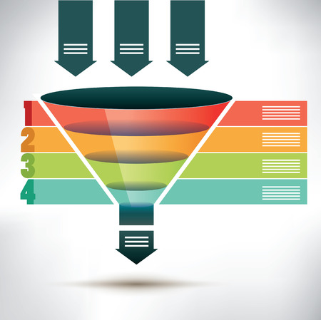 funnel: Funnel flow chart template with three arrows showing input into the funnel passing four colored banners to organize, condense and streamline into one output arrow below, vector illustration Illustration
