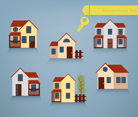 renting: Collection of six houses for renting, sale and property concepts Illustration