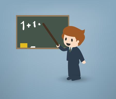 school classroom: Cartoon teacher in front of a chalkboard explaining things