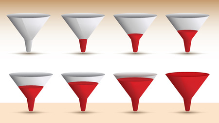 emptying: Timeline series of a funnel emptying or filling with a red liquid in a sequence of eight levels, vector illustration Illustration