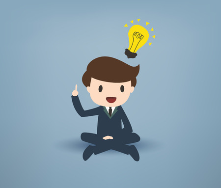 ingenious: Cartooned Young Businessman Sitting with Legs Crossed, Pointing his Finger Up with Yellow Bulb on Over his Head Against Gray Background.