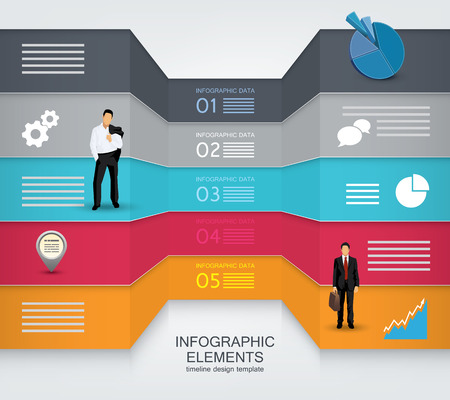 magazine design: Two sided Infographic elements with business people