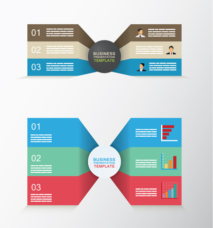 two: Set of two sided business template with three different levels