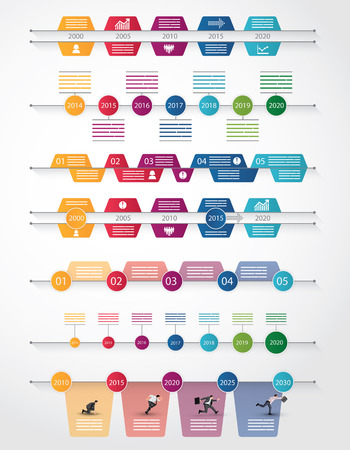 horizontal: Set of seven different timeline for infograpics, brochures and online use