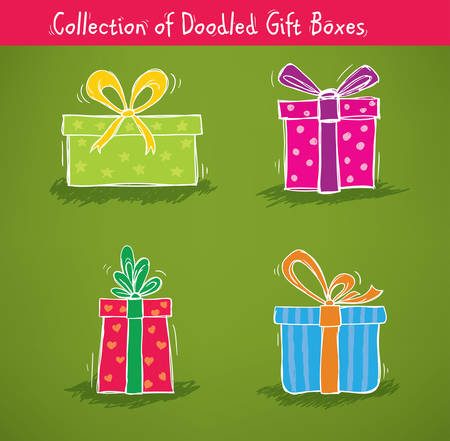 christmas gifts: Collection of gift boxes for birthday, christmas and other celebrations Illustration