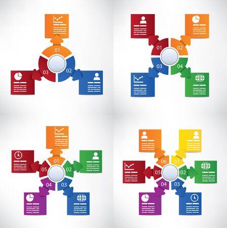 combinar: Colección del modelo de la infografía con cuatro esquemas diferentes Vectores
