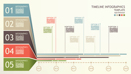 chronology: Timeline infographics template with space for mentions and base text Illustration