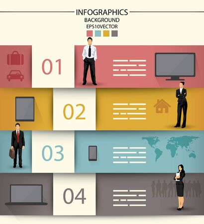 four people: Infographics template with four fields and icons of electronic equipment and business people