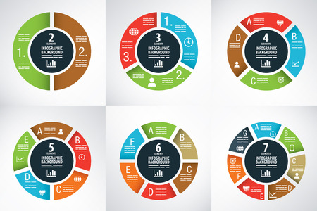 Six wheel charts for infographics, presentations and brochure designs