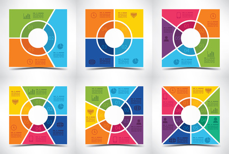 square buttons: Collection of six square shaped presentation templates Illustration