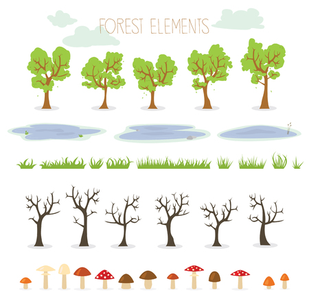 puddles: Collection of nature illustrations including trees, puddles, mushrooms and grass