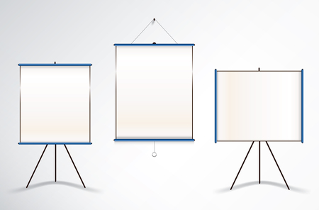 tripod projector: Collection of three vector illustrations of projector wall and tripod screens