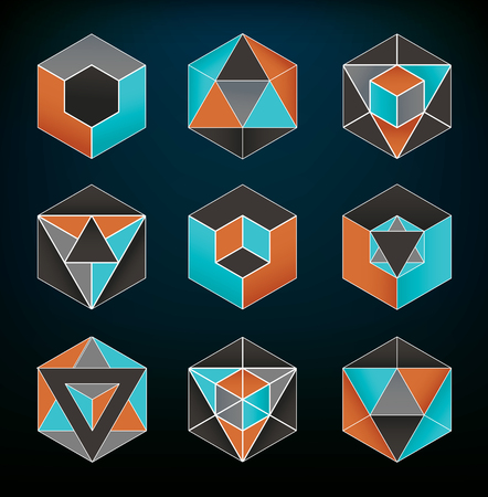 trigonometry: Abstract geometric elements set usable for icons and spiritual themes