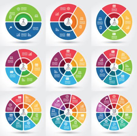 Colección de 9 infografía segmentados diferentes gráfico con el mismo tema