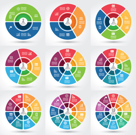infographics: Collection of 9 different segmented infographics chart with the same theme