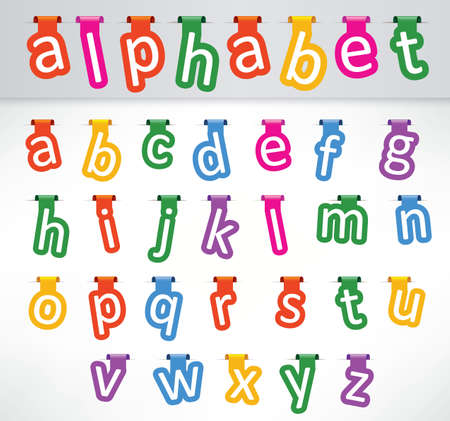 hanged: Hanged letters of the alphabets lowercase characters
