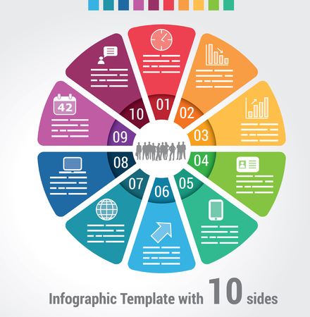 Ten sides infographic template Illustration