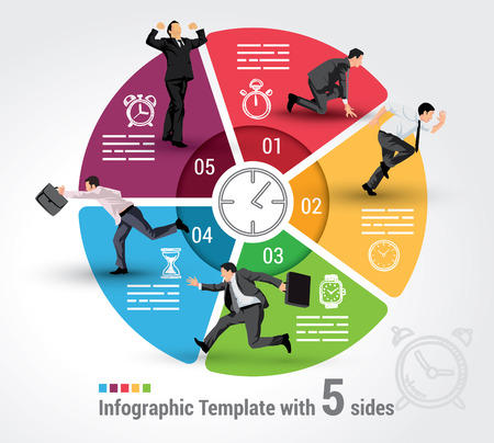 Five sides infographic template