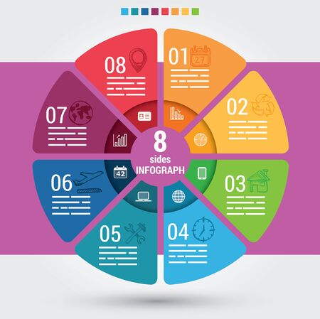 eight: Eight sides infographic template