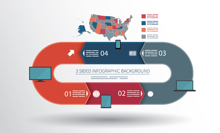 cíclico: 4 infografía lados de fondo para las estadísticas, banners, anuncios, sitios web y medios impresos