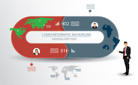 recursive: 2 sided infographics background for statistics, banners, ads, websites and printed media