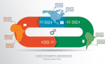 recursive: 3 sided infographics background for statistics, banners, ads, websites and printed media