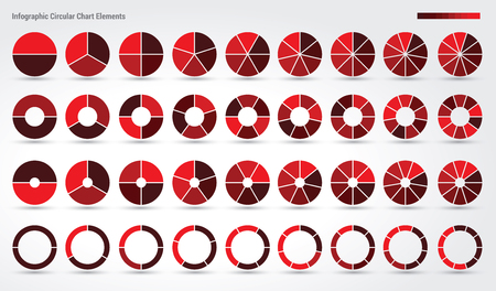 Big set, of wheel diagrams with 2, 3, 4, 5, 6, 7, 8, 9 and 10 sides Illustration
