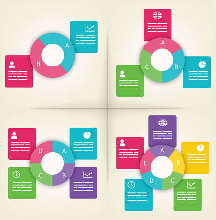 Infographics presentation templates with 2, 3, 4 and 5 elements 矢量图像
