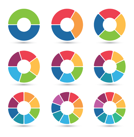 graficas de pastel: Colección de diagramas circulares con 2, 3, 4, 5, 6, 7, 8, 9 y 10 segmentos
