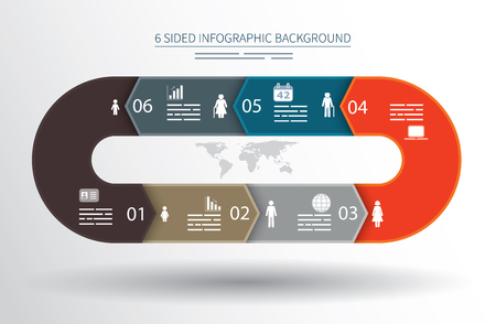 printed media: 6 sided infographics background for statistics, banners, ads, websites and printed media