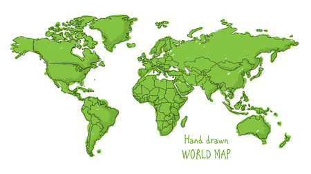 Hand drawn world map doodled with a childish cartoon style contouring the countries Stock Illustratie