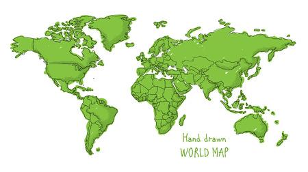 krajina: Ručně malovaná mapa světa doodled s dětský kreslený styl konturovací země