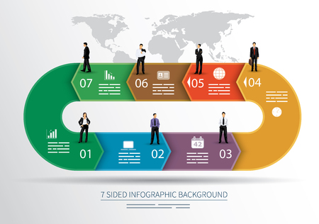 7 sided infographics background for statistics, banners, ads, websites and printed media Illustration