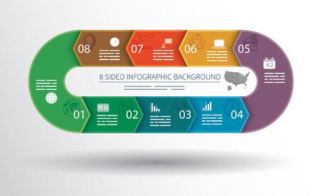 cíclico: 8 infografía lados de fondo para las estadísticas, banners, anuncios, sitios web y medios impresos