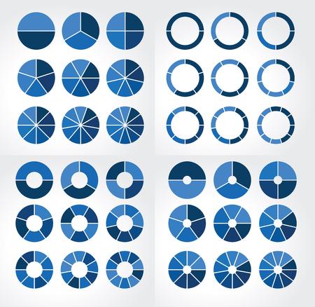 Las colecciones de diferentes gráficos circulares con diferentes dimensiones para la infografía