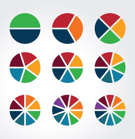 Set van gesegmenteerde bollen gebruikt als grafieken, diagrammen en infographics Vector Illustratie