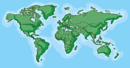 childish: Hand drawn map of the world with childish cartoon look Illustration