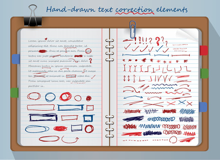 Set of text correction elements written in illustration of a notepad Illustration