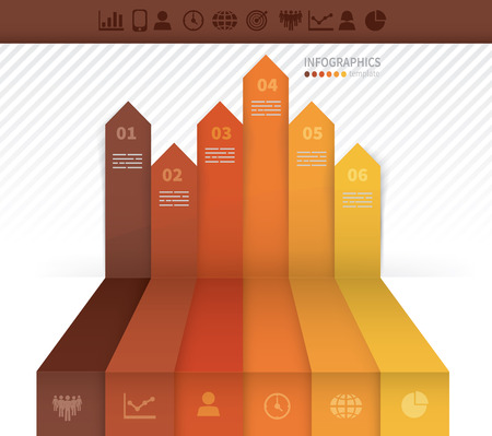 up arrow: Infographics template with six arrows pointing upwards