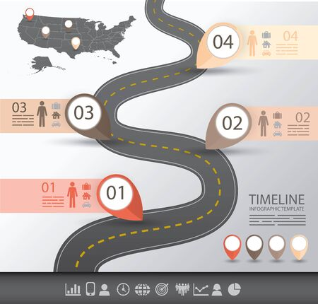 distance marker: Timeline Infographics template with a road and navigational pointers and a map of america