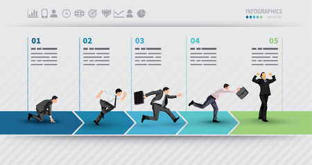 Presentation Template of a progress illustrated with businessman in hurry in each step Stock Illustratie