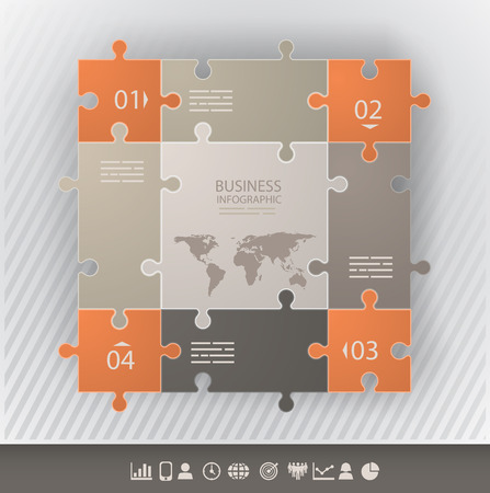 Presentation template with connected puzzel pieces and four options