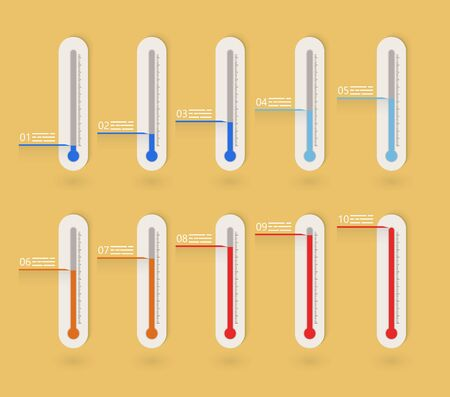 high temperatures: Flat thermometer icons collection presenting goals or weather indication Illustration