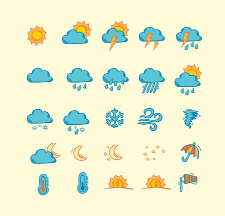 meteo: Insieme di mano disegnato icone previsioni del tempo