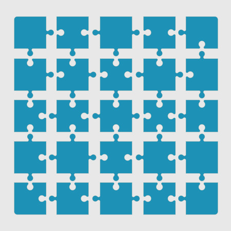 jigsaw set: A set of jigsaw puzzle pieces connected
