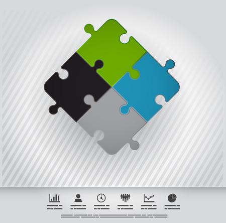 piece: Symbolic illustration of connection through four puzzle pieces