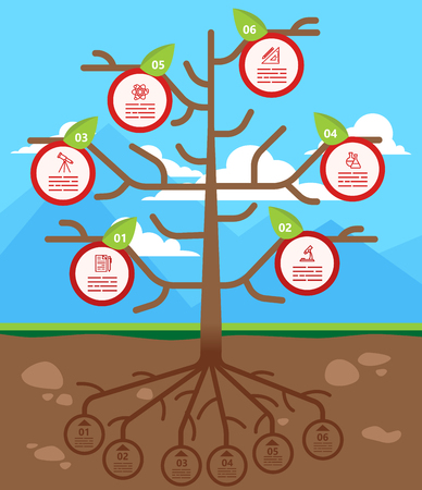 charts and graphs: Tree infographics template for ecology, recycling, nature themed charts, diagrams and business presentations Illustration