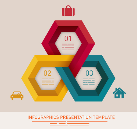 options: Presentation template with three different colored hexagonal fields