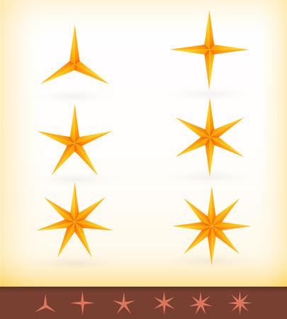lucero: Colección de estrellas de oro con 3, 4, 5, 6, 7 y 8 aristas puntiagudas