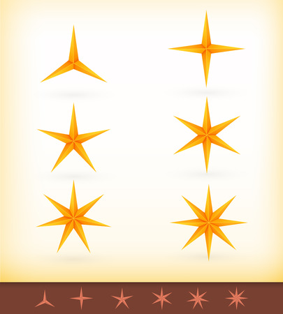 Collection of golden stars with 3, 4, 5, 6, 7 and 8 pointed edges